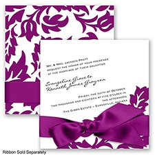 Modern Damask - Sangria - Invitation