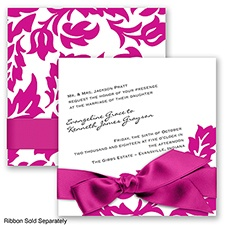 Modern Damask - Begonia - Invitation