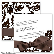 Modern Damask - Chocolate - Invitation