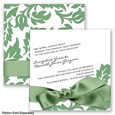 Modern Damask - Clover - Invitation