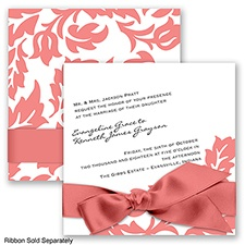 Modern Damask - Coral Reef - Invitation