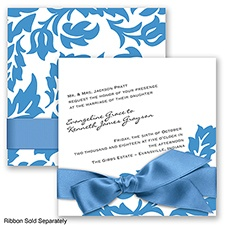 Modern Damask - Cornflower - Invitation