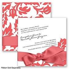 Modern Damask - Guava - Invitation