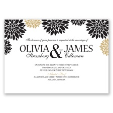 Delightful Floral - Black - Invitation