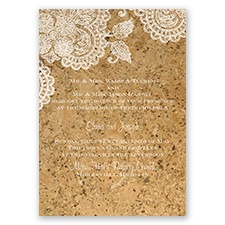Elegant Cork & Lace - White - Invitation