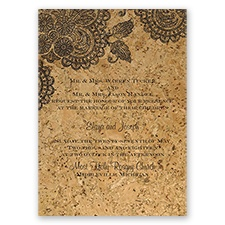 Elegant Cork & Lace - Black - Invitation