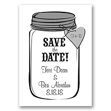 Mason Jar - Black - Save the Date