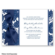 Floral Patterned - Marine - Invitation