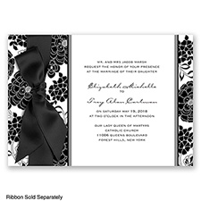 Floral Patterned - Black - Invitation
