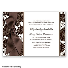 Floral Patterned - Chocolate - Invitation