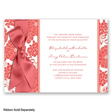 Floral Patterned - Guava - Invitation