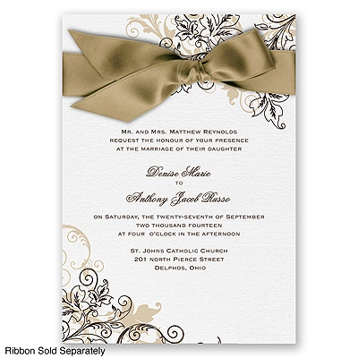 Flourish with Golden Shadow - Chocolate - Invitation
