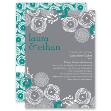 Bright Blooms - Jade - Invitation