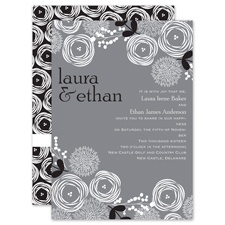 Bright Blooms - Black - Invitation