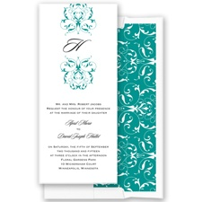 Monogram Flourish - Jade - Invitation
