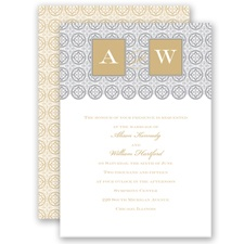 Monogram Pattern - Golden - Invitation