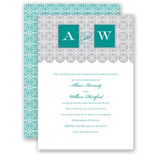 Monogram Pattern - Jade - Invitation