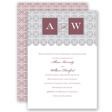 Monogram Pattern - Rosewood - Invitation