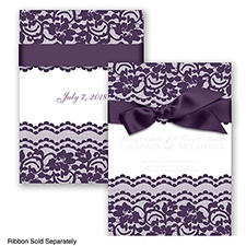 Sentimental Lace - Plum - Invitation