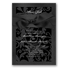 Treasured Jewels Pattern - Onyx & Black Invitation