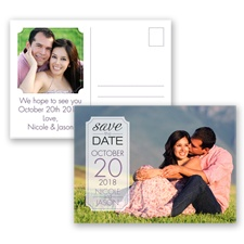 Dandy Dots - Plum - Photo Save the Date Postcard
