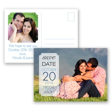 Dandy Dots - Cornflower - Photo Save the Date Postcard