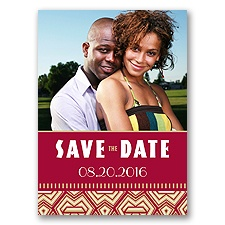 Geometric Tribal - Golden - Save the Date Postcard