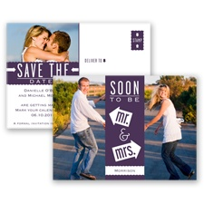 Fun-Filled Photo - Plum - Save The Date Postcard