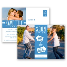 Fun-Filled Photo - Cornflower - Save The Date Postcard