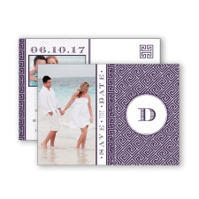 Greek Isles Photo - Plum - Save the Date Postcard
