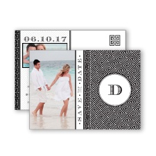 Greek Isles Photo - Black - Save the Date Postcard