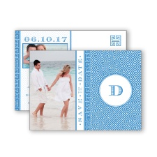 Greek Isles Photo - Cornflower - Save the Date Postcard