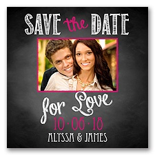 Chalkboard Love Photo - Watermelon - Save the Date Magnet