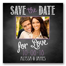 Chalkboard Love Photo - Wisteria - Save the Date Magnet