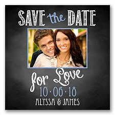 Chalkboard Love Photo - Bluebird - Save the Date Magnet