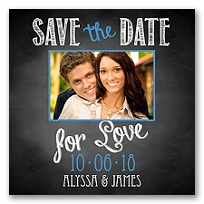 Chalkboard Love Photo - Cornflower - Save the Date Magnet