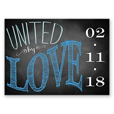 Chalkboard Chic Photo - Cornflower - Save the Date Postcard