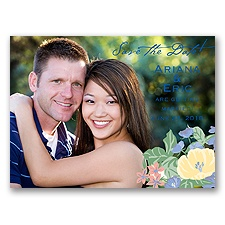 Paradise Garden - Bluebird - Save the Date Photo Postcard