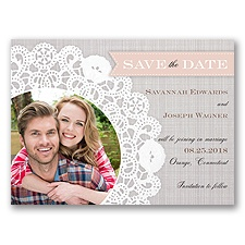 Delightful Doilie Lace - Pink -  Photo Save the Date