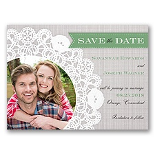 Delightful Doilie Lace - Clover -  Photo Save the Date
