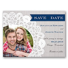 Delightful Doilie Lace - Marine -  Photo Save the Date
