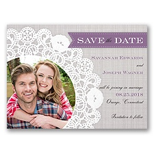Delightful Doilie Lace - Wisteria -  Photo Save the Date