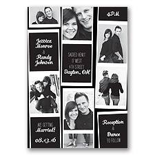 Photo Strip Style - Black - Invitation