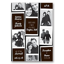 Photo Strip Style - Chocolate - Invitation