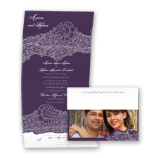 New York Lace - Plum - Seal and Send Invitation