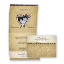 Burlap Heart Photo - Plum - Seal and Send Invitation