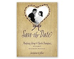 Burlap Heart Photo - Save the Date