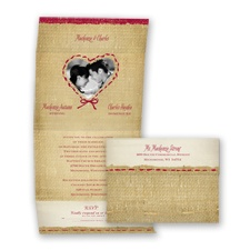 Burlap Heart Photo - Apple - Seal and Send Invitation