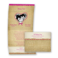 Burlap Heart Photo - Begonia - Seal and Send Invitation