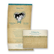 Burlap Heart Photo - Oasis - Seal and Send Invitation